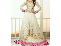 Georgette beige and pink anarkali suit