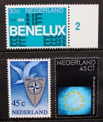 NETHERLANDS 1974 Anniversaries: NATO; Council of Europe. Set of 3. MNH SG1196/98