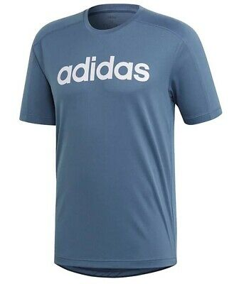Mens New Adidas Logo Climacool Running Top T-Shirt - Fitness Training Gym - Blue