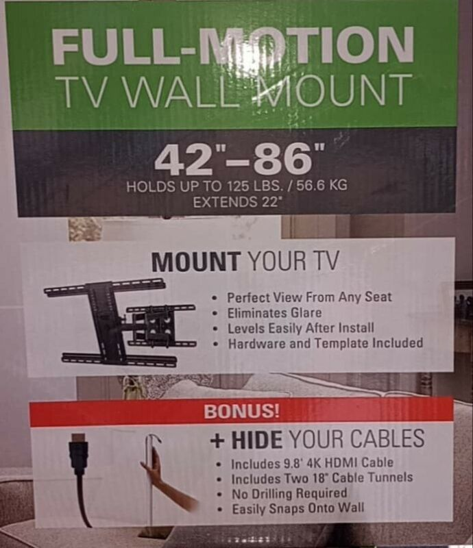 """Sanus Full Motion 42"""" to 86"""" TV Wall Mount With Bonus HDMI And Cord Cover"""