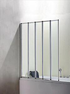 Badewanne 5-ftg. Falttür Duschwand Trennwand Duschabtrennung 120x140cm