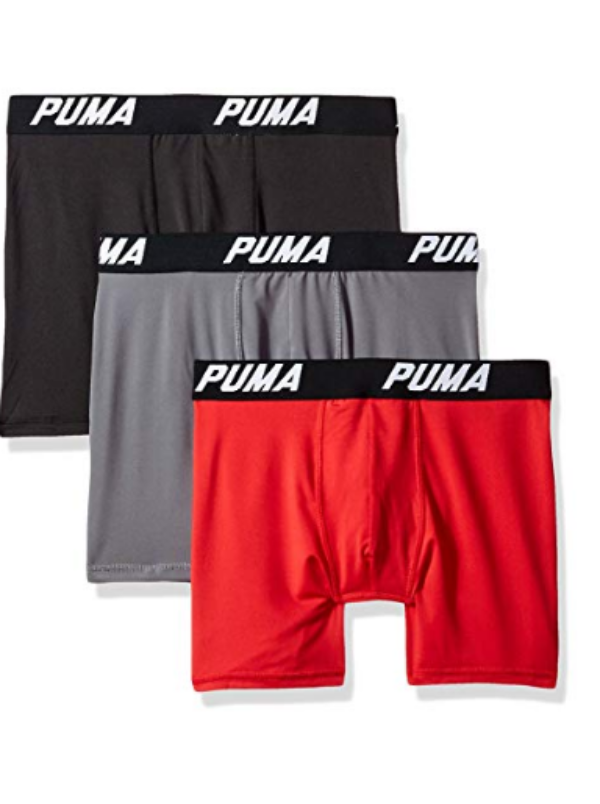 3 Pack PUMA Tech STRETCH Boxer Briefs Black Gray Red LARGE 3