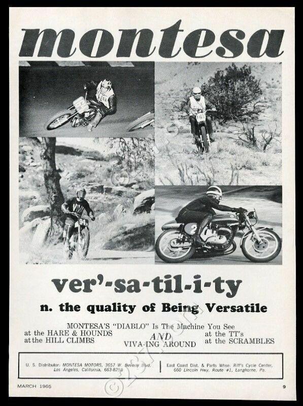 1965 Montesa Diablo motorcycle photo vintage print ad