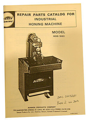 Sunnen Mbb-1660 Honing Parts Repair Manual