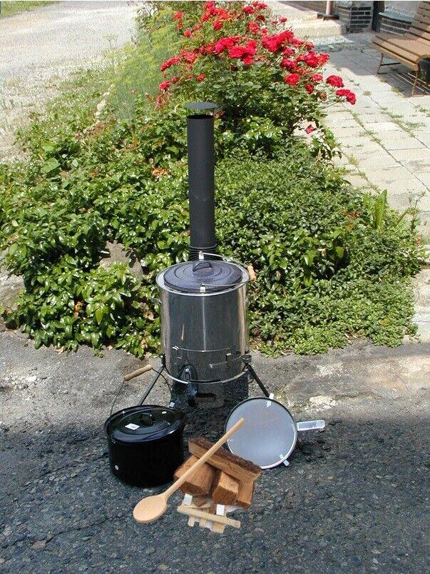 Gulaschkanone, Eintopfofen mit Pfanne mit Starterset + Kochlöffel