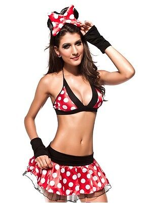 Sexy Damen Halloween Damen Minnie Mouse Kostüm Bh Top + Minirock