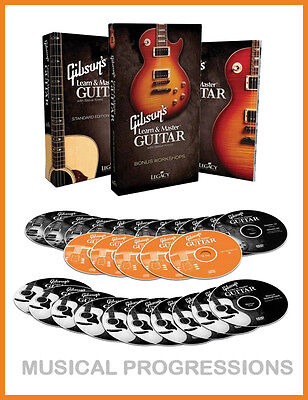 Gibson's Learn and Master Guitar DELUXE - 20 DVDs BOOK CDs Instruction NEW