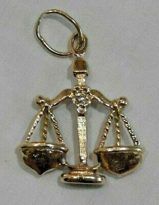 14K Yellow Gold Scales of Justice Attorney Lawyer Pendant or Charm with Diamond 14k Gold Scales