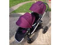 Baby jogger city select double pushchair purple