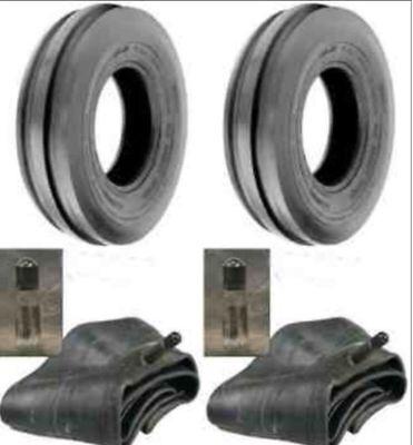 Two 400-8 Deestone Tri Rib 4ply 400x8 4.00-8 3 Rib Tractor Tires With Tubes