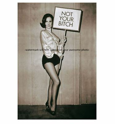 - Funny Sexy Busty Pin-up Girl PHOTO Not Your B itch, Holding Sign Vintage Humor