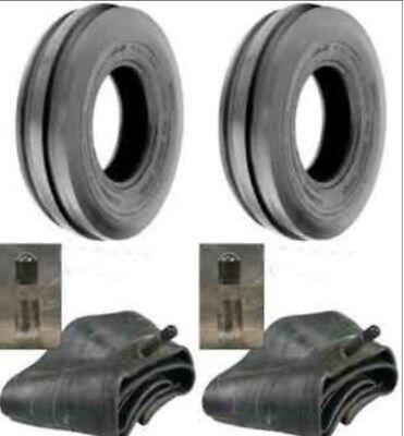 Two 3.50-6 Tri-rib 3-rib Tractor Three Rib Front Tires Tubes-4pr Heavy Duty