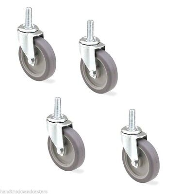 Set Of 4 Stem Casters W Rubber 4 Wheel And 12 - 13 X 1-12 Threaded Stem