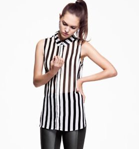 Hot Sleeveless Chiffon Georgette Blouse Black White Stripe Womens Tee Shirt Tops