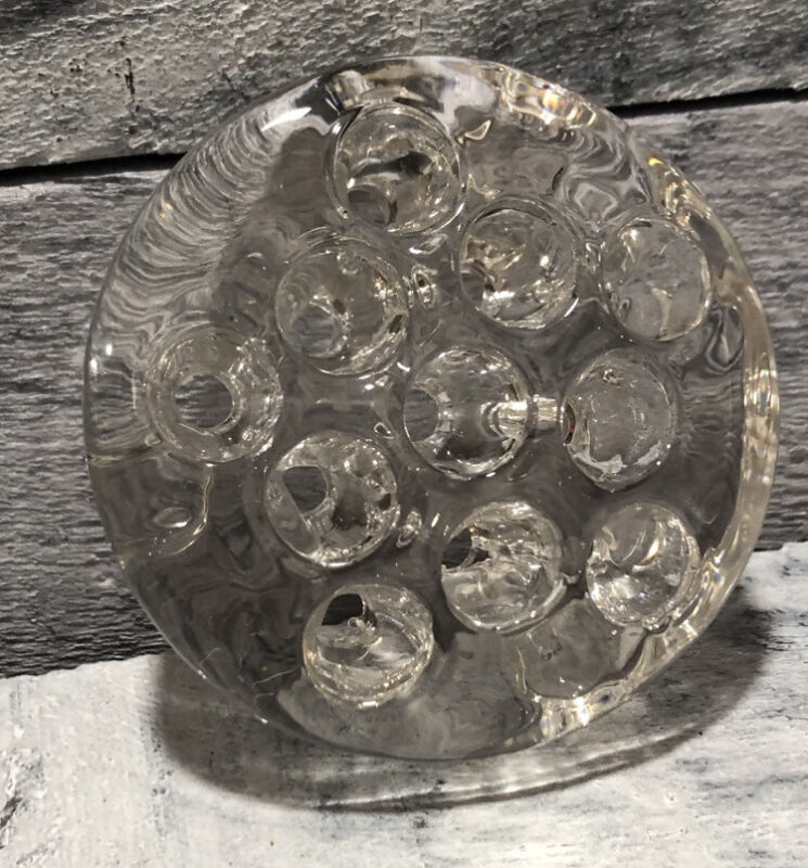 Clear Glass 11 Hole Flower Frog Holder 4 Inch Dome Shaped