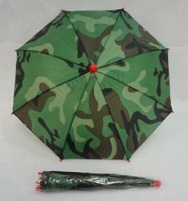 "BRAND NEW FOLD UP CAMO  COLOR UMBRELLA HAT WITH 19"" CANOPY WHOLESALE $1.75 EACH"