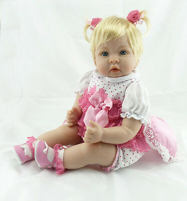 Fashion 22'' Vinyl Silicone Reborn Bebe Doll 56CM Girl Toddler Lifelike Handmade