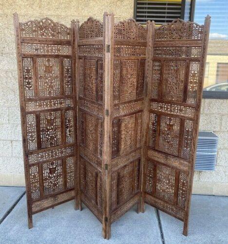 """Vintage Ornate Carved Wood Asian 4 Panel Room Divider/Screen 80"""" Wide"""
