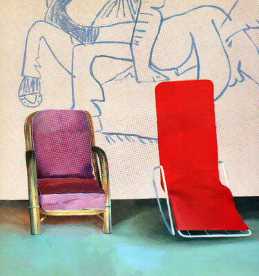 DAVID HOCKNEY BOOK PRINT DECK CHAIRS IN FRONT OF WALL WITH PICASSO MURAL