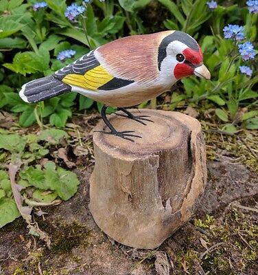 Hand Painted Gold Finch Garden Bird hand carved British Bird Ornament