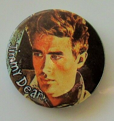 JAMES 'JIMMY' DEAN OLD METAL BUTTON BADGE FROM THE 1980's HOLLYWOOD VINTAGE