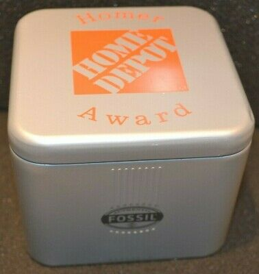 Home Depot Homer Award Fossil Watch Woman with Tin Box Stainless Steel Strap New