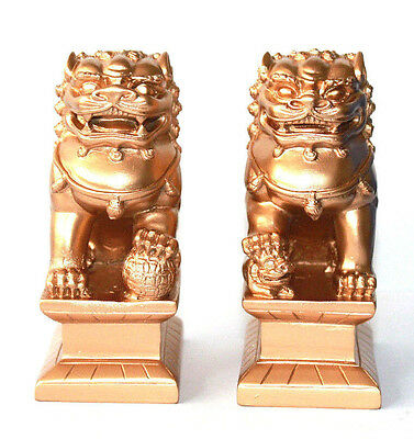 """GOLD Feng Shui Oriental Fu Foo Dog Home Protection Lions Guardians SET 4"""" Tall"""