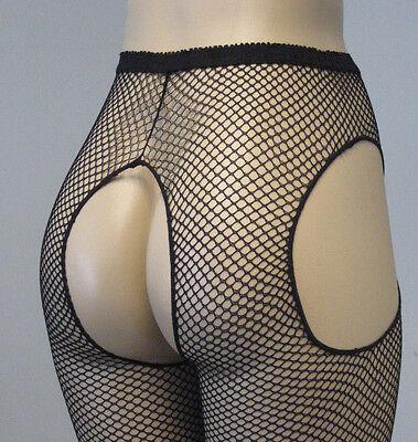 Black Fishnet Leggings (Women Pantyhose Fishnet Suspender 2 Sizes Plus XL or Reg Black Leg Avenue 1402)