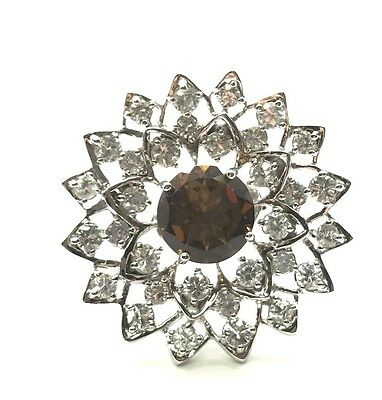 Sterling Silver 925 Faceted Round Cognac Citrine CZ Flower Cluster Cocktail Ring ()