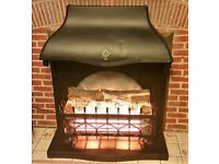 Large electric heater with fire & Log effect, 2 bars, Black Metal – Working in Good condition