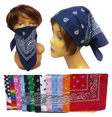 Bandana 100% Cotton head wrap face scarf Mask Unisex