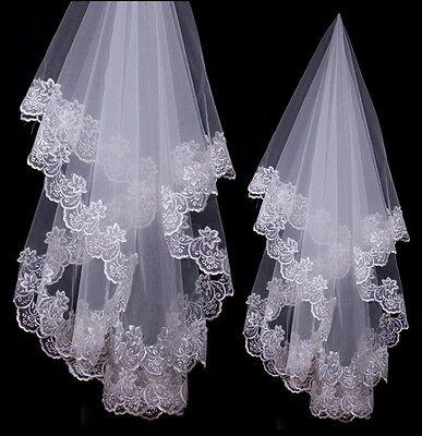 NEU Braut Hochzeit Brautschleier Spitze Blumen Kante 1,50m Weiß Schleier