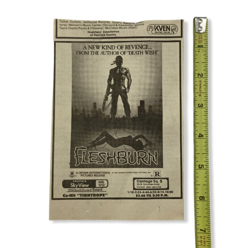 Fleshburn 1984 Movie Newspaper Ad Death Wish Brian Garfield