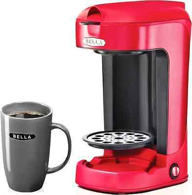 NEW! Single Cup Coffee Maker Red Bella W/ Mug Compact and Easy Clean Filter