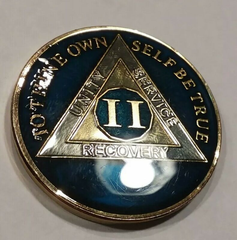 2 Year AA Sobriety Challenge Coin Size! Midnight Blue Enamel 2nd II Recovery