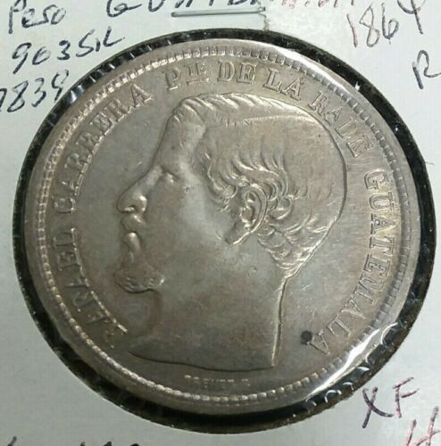 Guatemala 1864.R. 1 Peso Coin Large Silver Crown I970