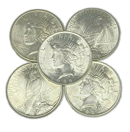 Lot of 5 1922-1925 Peace Silver Dollars - AU to Choice Almost Uncirculated Mixed