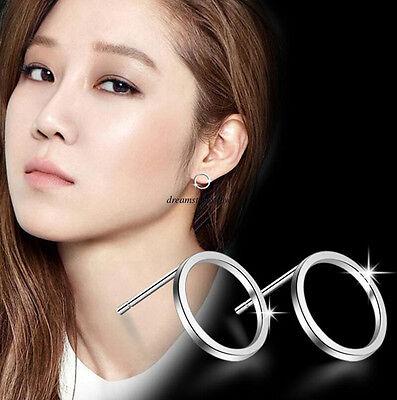Korean Simple 925 Sterling Silver Women Circle Geometric Ear Studs Earrings Gift