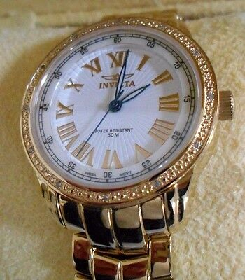 NEW- INVICTA 5059 ANGEL WOMEN'S WHITE DIAL DIAMOND GOLD-TONE STEEL WATCH