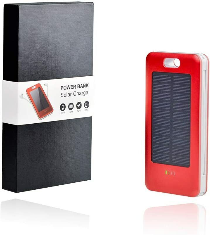 12000mAh Power Bank Portable Charger, Solar Charging Capacity Battery 3 Inputs Cell Phone Accessories