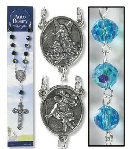 Catholic Rosary AUTO Rear View Mirror Saint Christopher Guardian Angel AQUA BLUE