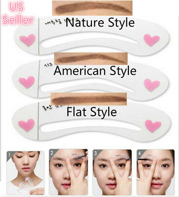 3 Style Eyebrow Grooming Stencil Kit Template Guide Makeup Shaping Shaper (Stencil Kit)