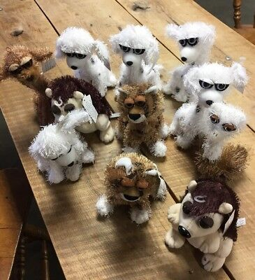 "Lot Of (11) Carlton Cards 7"" Twisted Whiskers Posable Dogs Cats Ostrich Hedgehog"