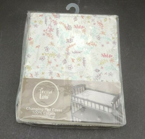 """Trend Lab Plush Changing Pad Cover Fits Pad 16"""" x 32"""" White Colorful Flowers New"""