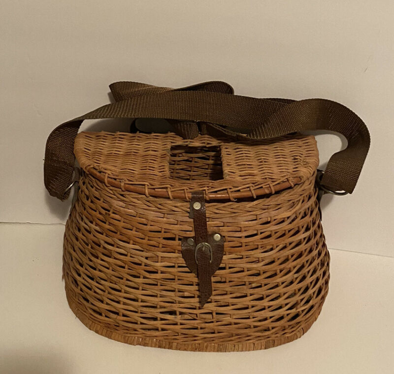 Vintage Wicker Woven Fishing Creel Basket With Adjustable Shoulder Strap