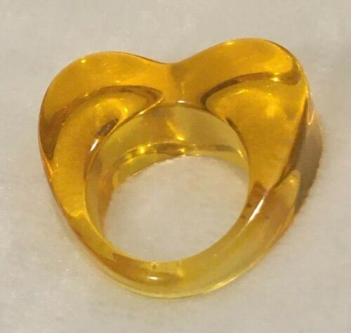 Lucite Heart Translucent Yellow Ring Size 6.5