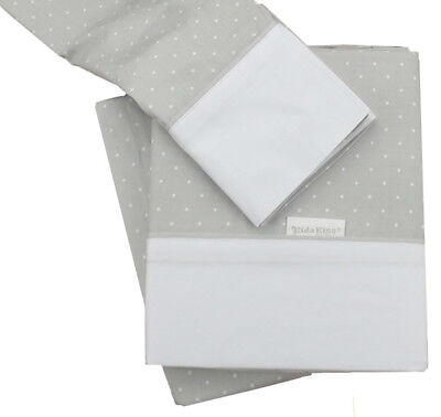 Used, Kidz Kiss Petit Dots Grey Premium Cotton 3 Piece Cot Sheet Set Fits Large Cots for sale  Shipping to South Africa