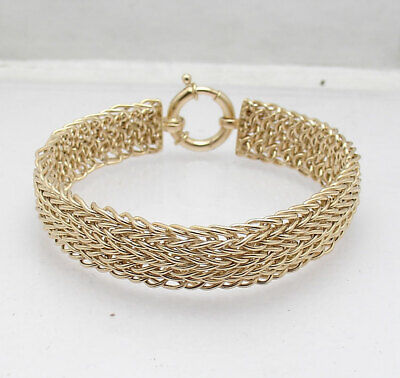 "7"" Elegant Interlocked Domed Mesh Wheat Link Bracelet Real 18K Yellow Gold"