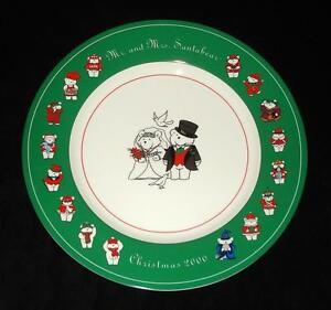 2000-DAYTON-HUDSON-SANTA-BEAR-BRIDE-GROOM-WEDDING-PLATE-MR-MRS-SANTABEAR