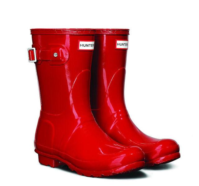 Hunter Original Short Gloss Military Red Rain BOOTS 10 | eBay
